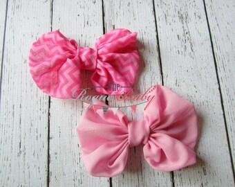 Pink & Chevron Hair Bow Clip Set. Baby Girl Toddler Youth. Zig zag. Chiffon Bows.