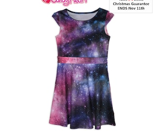 Galaxy Dress Kids Size Galaxy Dress Girls Space Dress Universe Outer Space Stars Children ****MTO, Month*****