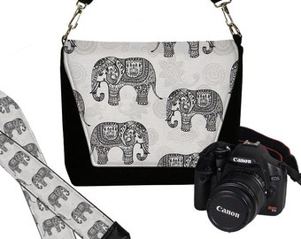 SET Dslr Camera Bag and Dslr Camera Strap, Camera Bag Slr and Camera Neck Strap, elephants paisley gray black MTO