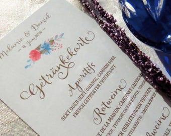 30 Drinks cards Wedding/card drinks/Wine list