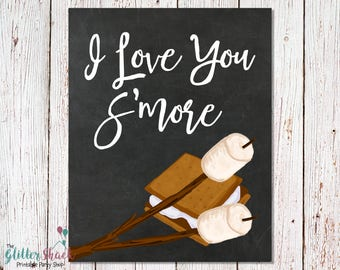 I Love You S'more Chalkboard Sign, PRINTABLE Wall Art, Quirky Wall Art, INSTANT DOWNLOAD Printable Posters, Cute Wall Decor, Unique Wall Art