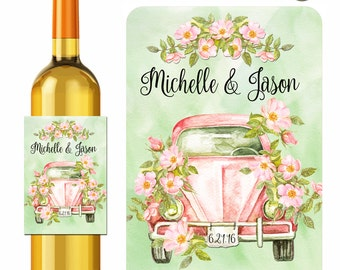 Wedding Wine Labels Personalized Stickers Rustic Pink Car and Roses Watercolor Style - Waterproof Vinyl 3.5 x 5 inch