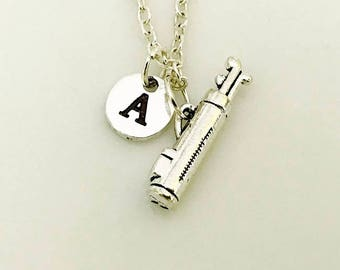 Golf Bag Necklace, Golf Mom Necklace, Golfer necklace gift, Female Golfer Gift, Silver necklace, initial necklace