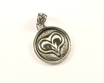 Vintage Heart Love Hammered Pendant 925 Sterling Silver PD 586