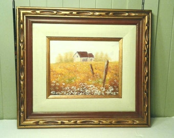Original Painting On Canvas Country Farm House In Field Flowers Yellow Gold Brown White Wide Carved Wooden Frame Antique Gold Landscape Art