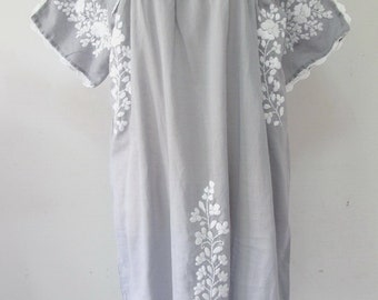Mexican Embroidered Dress Cotton Tunic In Gray, Boho Dress, Gypsy Dress Bohemian Style