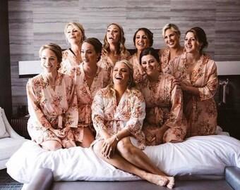 Blush Bridesmaids Robe Sets Kimono Crossover Robe. Bridesmaids gifts. Getting ready robes. Bridal Party Robes. Floral Robes
