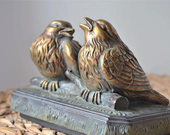BIRD STATUE Two Antique Gold Rustic Birds on Pedestal Old World Home Decor
