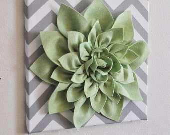 """Flower Wall Hanging -Light Green Dahlia on Gray and White Chevron 12 x12"""" Canvas Wall Art- Spring Wall Decor"""