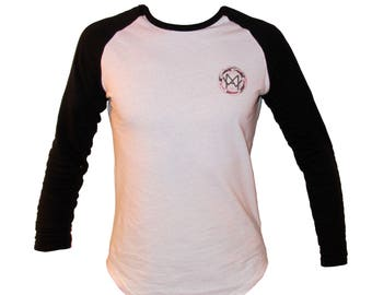 MAW Long Sleeved White and Black Baseball Tee