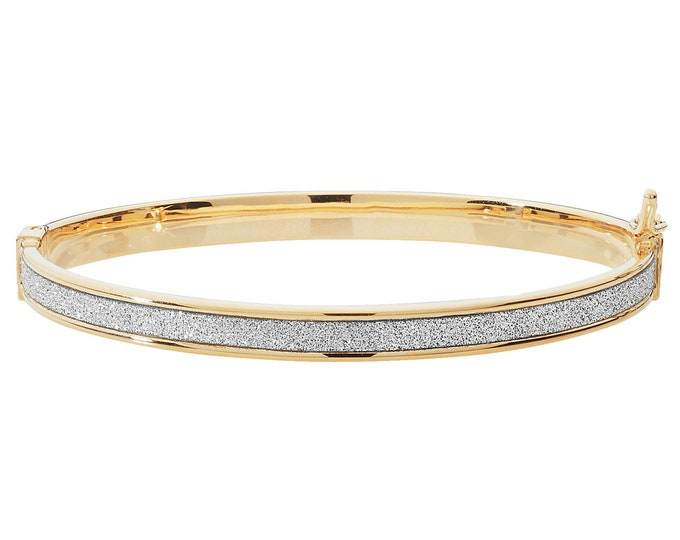 9ct Yellow Gold Stardust Striped 3mm Hinged Baby Bangle Hallmarked