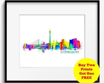 Dusseldorf Skyline Watercolor Art Print (314) Cityscape Germany