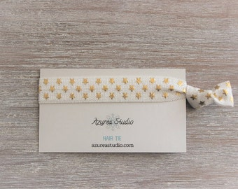 White Gold Stars Hair Tie