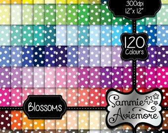 INSTANT DOWNLOAD 120 Digital Papers, 120 Colors with white Flower Blossom Daisy Confetti Design. Printable Scrapbook. Card Making