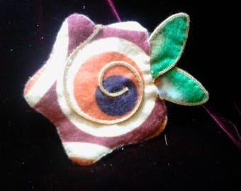 Felt Flower Scarf, Hat or Brooch pin