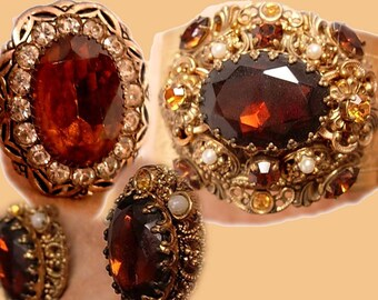 Baroque vintage Victorian Revival style jeweled bracelet earrings and RING parure