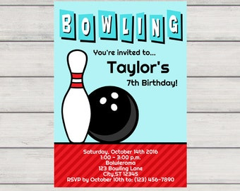 Bowling Invitation, Printable Birthday Party Invitation, Instant Download