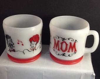 Hazel Atlas Gay Nineties Mom n Dad Coffee Mugs