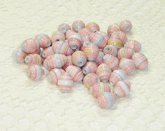 Paper Beads, Loose Handmade Jewelry Supplies Round Pastel