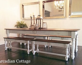 The 8 Foot Farm Table Handmade with Reclaimed Barn Wood by Arcadian Cottage