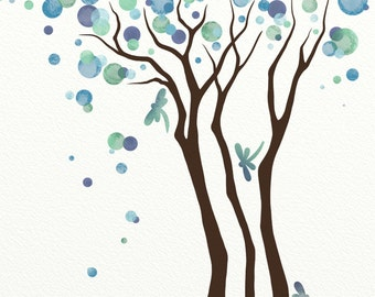 Dragonfly Wall Art, Watercolor Tree Art Print 8 x 10, Blue Green Decor, Modern Nature Print (137)