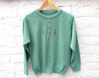 Vintage 50's style knit, sage green retro pullover, women's fashion
