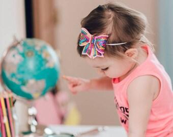 The Rainbow Sequin Bow Headband or Clip