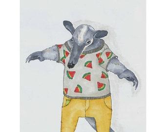 Anteater Art Print, Anteater Drawing, Anthropomorphic, Anteater Art, Anteater Wall Decor, Animal Art Print, Children Room Art, Kids Room Art