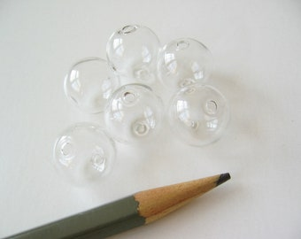 50 Hollow Clear Blown Glass Beads Globe bubble 16mm