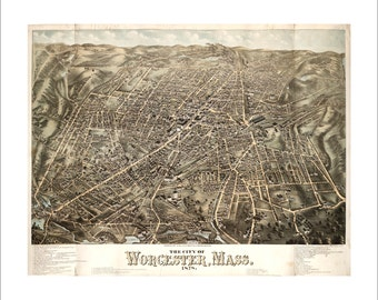 """Worcester Massachusetts in 1878 Panoramic Bird's Eye View Map by O.H. Bailey & J.C. Hazen 21x17"""" Reproduction"""