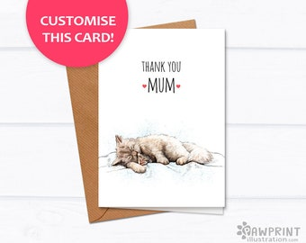 Thank you Mum - Cat and Kitten Mother's Day Card - Mother and daughter mother and baby cat greetings card for mom