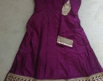 Purple Embroidery long party dress