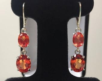 Beautiful 10ctw Oval Cut Orange Padparadscha Sapphire & Sterling Silver Leverback Earrings Fine Jewelry Gift Wife Orange Sapphire Earrings