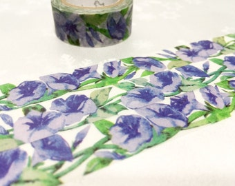 morning glory flower washi tape 7M purple morning glory purple flower garden masking tape purple scenes watercolor natural scenery tape