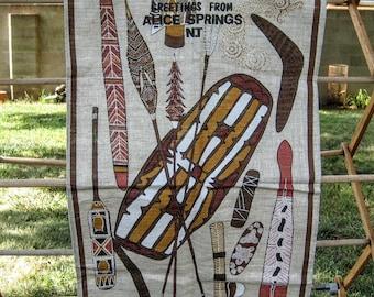 Vintage aboriginal tea towel, Australian aboriginal, kitchen decor