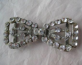 Bow Rhinestone Belt Buckle Silver Vintage Clear