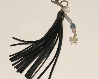 Autism awareness key chain - Autism purse tassel - ASD key chain - autism awareness purse jewelry - ASD key chain - puzzle piece keychain