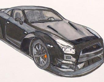 Car drawing | Etsy