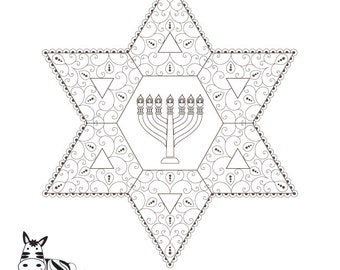 Menorah Printable-Star of David-Healing Jewish Sou Art-Judaica-Coloring Page-Menorah Crafts-Bat Mitzvah Arts and Crafts-INSTANT DOWNLOA