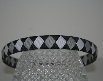 Black, White, and Grey Woven Ribbon Headband
