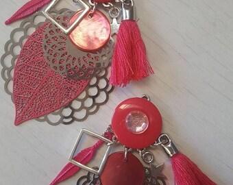 Earrings dangle metal and tassel