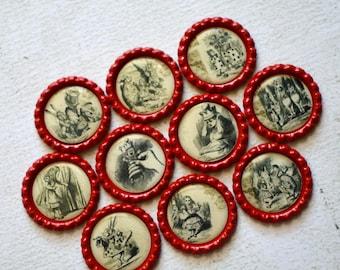 Alice in Wonderland Bottlecap Magnets- Vintage Looking Alice in Wonderland Magnets- Strong Bottlecap Magnets- Alice Kitchen Magnets