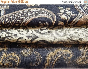 CLEARANCE - 3 pieces black multi woven fabrics, 10 x 10 inches