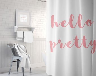Hello Pretty Shower Curtain, Girls Bathroom Decor, Pink Bath Curtain, Fabric Shower Curtain, Standard or Extra Long