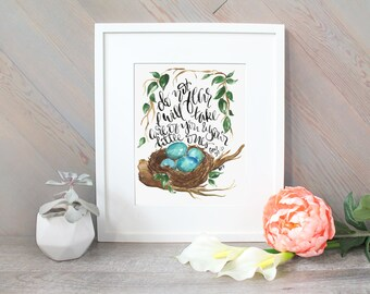 Nest Watercolor Verse handlettering religious, blue eggs and leaves, Genesis 50:21 scripture quote nature print for dads and moms