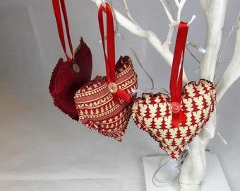 Christmas Scandi style tree hearts set - Free UK postage