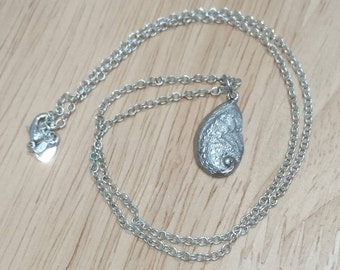 Vintage sterling silver pau shell pendant and chain