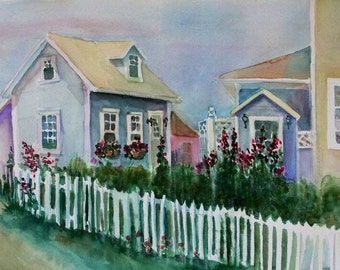 """Block Island painting,""""Behind The Blue Dory"""" 30x22""""original watercolor"""