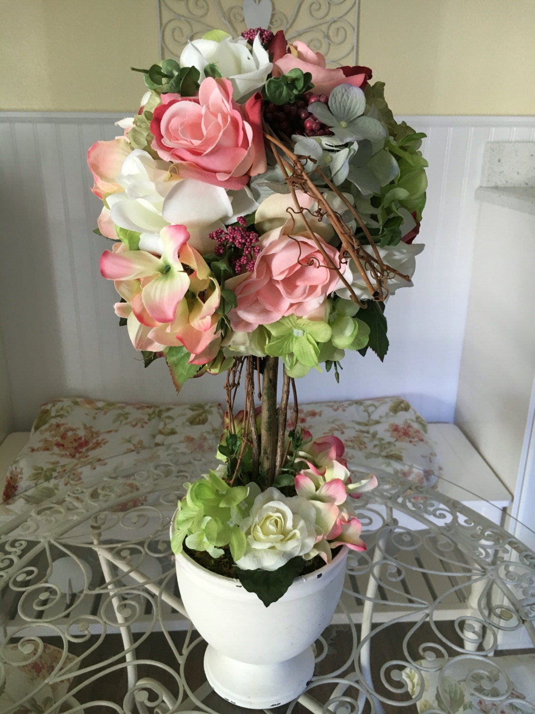 Flower topiary shabby chic flowers rose decor hydrangea zoom teraionfo