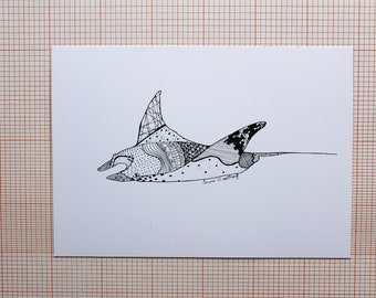 Manta Ray in ink - A6 Postcard
